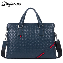 2016 High Quality Brand Genuine Cow Leather Business Handbag Men 14 inch Laptop Bags Briefcase Soft Surface Crossbody Bag