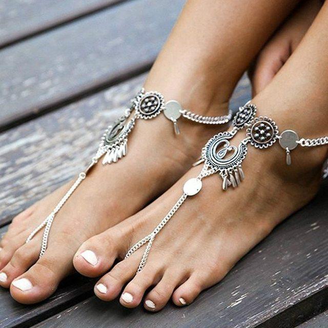 1 pc Bohème Indien Pied Bijoux Argent Antique Sculpté Fleur Chaîne  bracelets de Cheville Plage Pieds