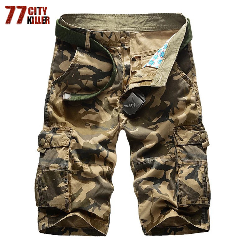 77City Killer Mens Military Shorts 2017 New Knee Length Plus Size Multi Pocket Camouflage Cotton Cargo Short No Belt P1566