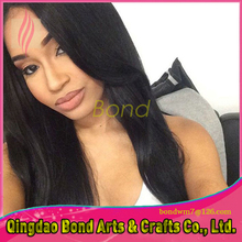 Ponytail Virgin Brazilian Straight Full Lace Wig Long Straight Glueless Full Lace Human Hair Wigs For Africa American Women
