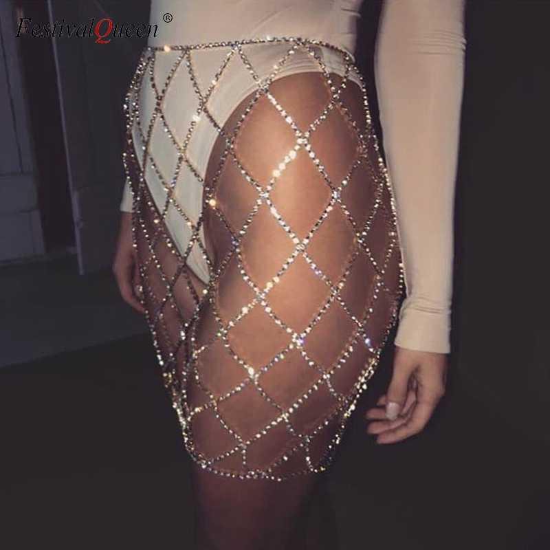 FestivalQueen Sexy Rhinestones Women Mini Skirt Shiny Fake Diamond Crystal  Metal Chain Patchwork Short Skirt Silver a8c79ba9b65b