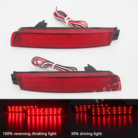 2 Pcs Red Lens 24 SMD LED Car LED Rear Bumper Reflector Tail Brake Light For