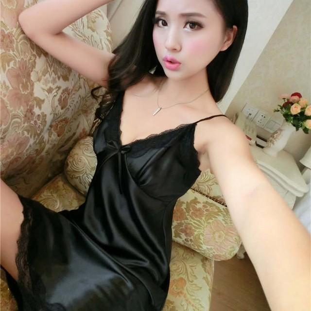 Sexy Silk Satin Nachtkleid Ärmelloses Nachthemden V ausschnitt ...