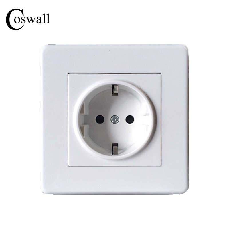 COSWALL Wall Power Socket, 16A EU Standard Electrical Outlet Grounded, Ivory White AC 110~250V coswall high quality wall power 5 way socket plug grounded 16a eu standard electrical quintuple outlet 430 mm 86 mm