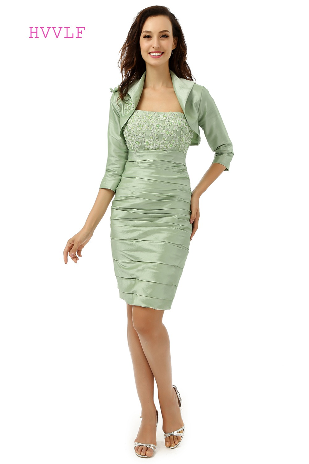 Light Green 2019 Mother Of The Bride Dresses Sheath Knee Length With Jacket Lace Groom Formal Short Mother Dresses For Wedding