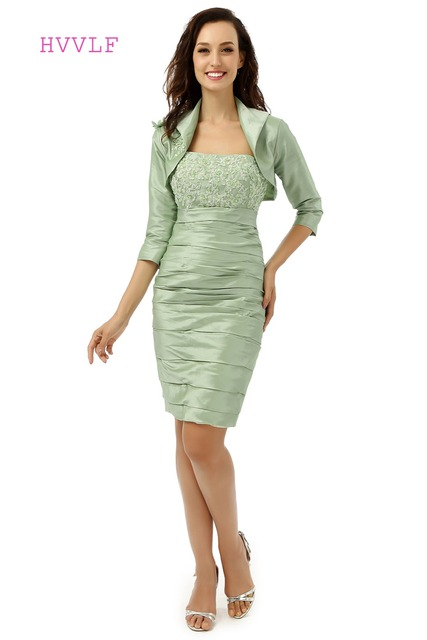b37a7b48fa Light Green 2019 Mother Of The Bride Dresses Sheath Knee Length With Jacket  Lace Groom Formal Short Mother Dresses For Wedding