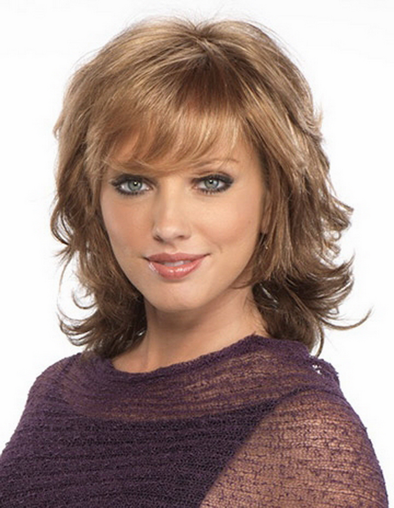 New arrival 180g heat resistant synthetic fiber african american wigs with bangs, middle long brown curly wig free ship