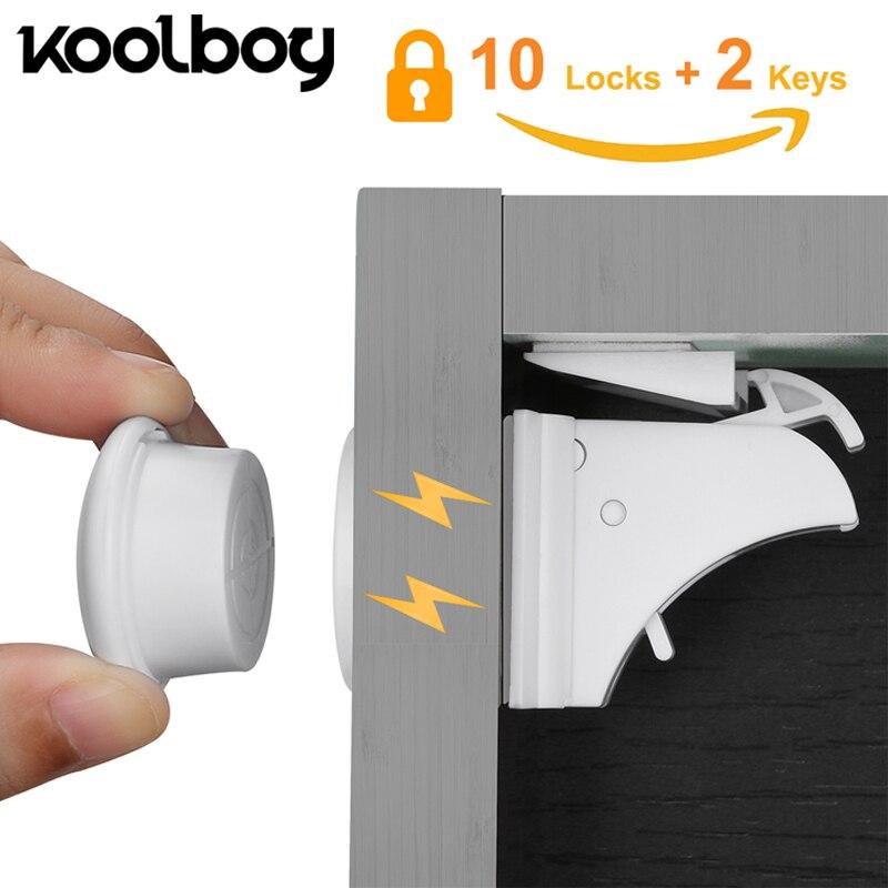 10 fechaduras 2 chaves armário magnético fechaduras de segurança do bebê armário bloqueio crianças proteção crianças gaveta locker fechaduras à prova de crianças