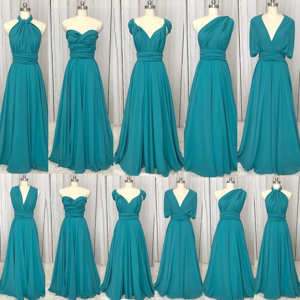 SuperKimJo 2020 Convertible Bridesmaid Dresses Cheap Long Mixed Styles Turquoise Blue Wedding Guest Dresses Vestido De Novia