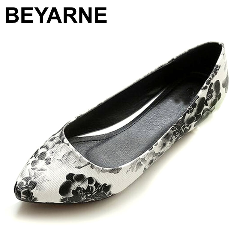 BEYARNE New Women Leather Flats High Quality Chinese Style Flower Casual Pointy Toe Basic Ballerina Ballet