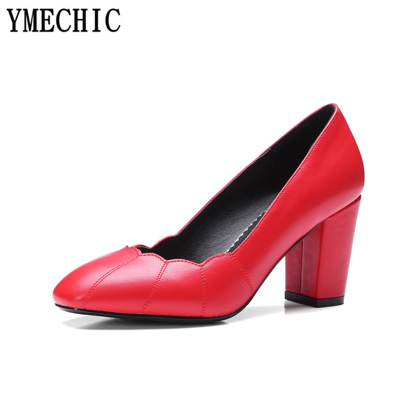 YMECHIC 2018 Fashion Lady High Heels Wedding Shoes Bride White Red Black  Ruffles Slip on Spring Autumn Plus Size Party Pumps 43-in Women s Pumps  from Shoes ... 087c185fab90