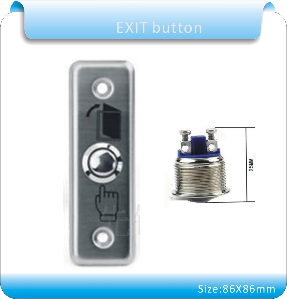Free shipping metal shell 92X29mm Door Release Exit Button for access control system  Switch without  LED Indication(NO)