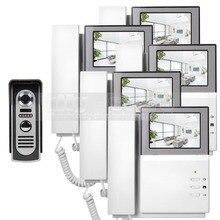DIYSECUR 800 x 480 HD Screen Video Door Phone Video Intercom Doorbell + 600 TVLine IR Night Vision Camera 1 Camera 5 Monitors