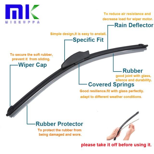 "Silicone Rubber Front Wiper Blades For Seat Altea XL 2006-2015 Pair 26""+26"" Windshield Windscreen Wiper Auto Car Accessories"