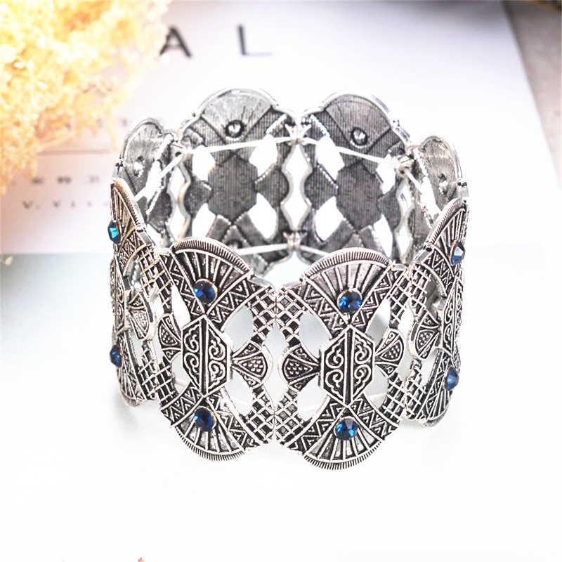רחב מתכוונן סטרנד צמיד לנשים מותג גילוף פרח מתכת Marcasite צמיד & צמידי וינטג תכשיטים