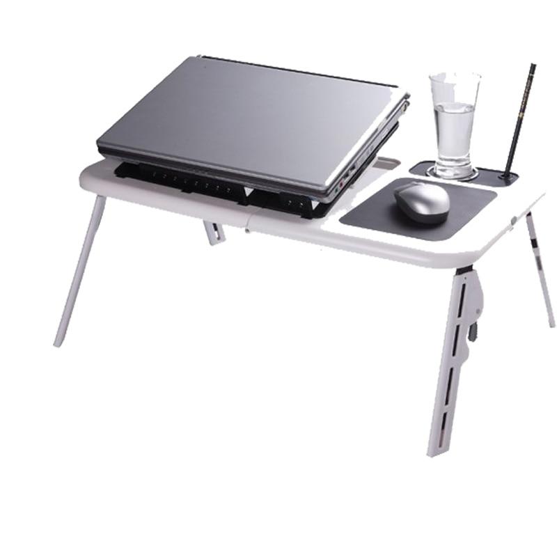 Prix pour 2017 Portable Ordinateur Portable Stand USB Table Pliante Portable Lit Table D'ordinateur Portable PC Suporte Support Pour Ordinateur Portable avec 2 Ventilateurs De Refroidissement + Tapis de Souris