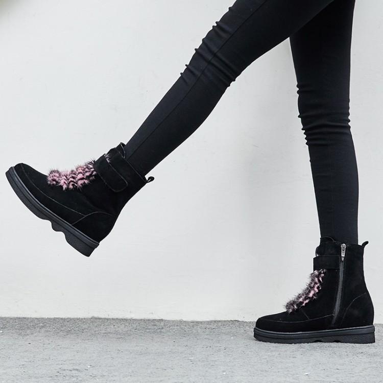 Crochet Pour En Bas Zapatos T Mujer Talon Femme Noir Rose Noir Daim Fille Chaussures Rond Bout D'hiver attaché Lumière Boucle Et Bottes De Caoutchouc rose Neige Un ERw0xqPx
