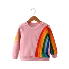Autumn Winter Long Sleeve Kids Girls Velvet T shirt For girls Spring Fall Cartoon rainbow pink girls Children T-shirt 2-6 Years