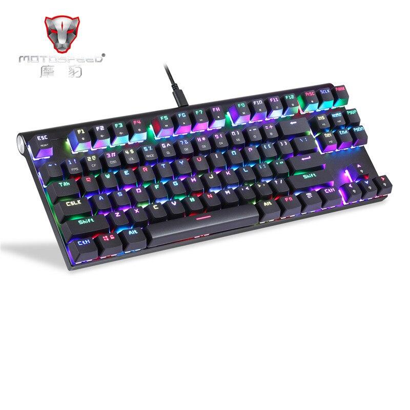 Motospeed CK101 Проводная Механическая клавиатура металлическая 87 клавиш RGB синий красный переключатель игра LED подсветка планшет Настольный русс
