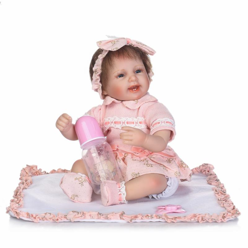 Blue Eyes Silicone Baby Dolls 16 Inch Gentle Touch Princess Girl Babies Doll Reborn With Pink Clothes Kids Birthday Xmas Gift new arrived 55 60cm silicone reborn baby dolls fridolin sweet girl real gentle touch rooted human hair with pink dress newyear