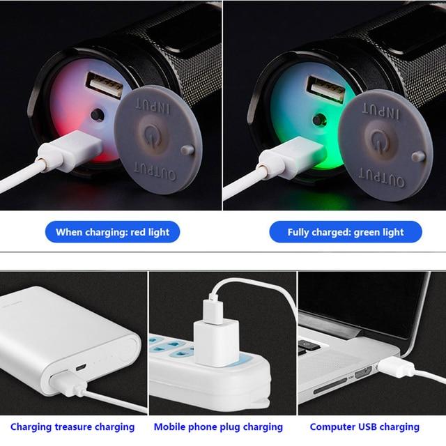 Lampe de poche LED Cree xhp50 xhp70 intégré 32650 batterie au lithium USB charge directe batterie externe extérieur puissant flash lumière