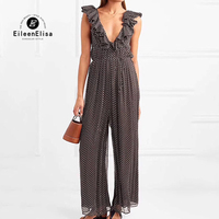 Summer Jumpsuits 2018 Women Fashion High Waist Ruffles Jumpsuits Deep V Neck Wide Leg Jumpsuits