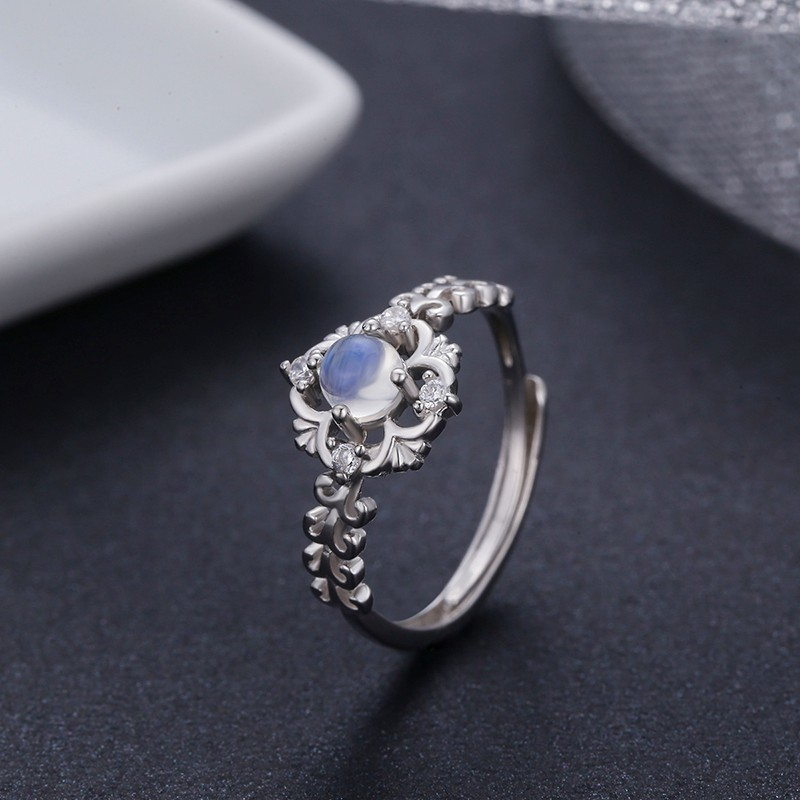 Vintage 925 Sterling Silver Natural Blue Moonstone Rings For Women Wedding Engagement Jewelry Finger Anillos Bague Aneis Anillo 925 sterling silver pear natural blue moonstone accent cz rings for women wedding engagement jewelry finger anillos bague anillo