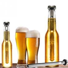 2Pcs  Stainless Steel Beer Coolers Stick Wine Chiller Beverage Frozen Stick Ice Durable Barware Beer chiller stick Bar necessary