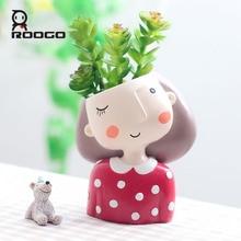 Roogo 4 פריט עסיסי חמוד ילדה פרח עציץ עציץ Creat עיצוב בית גן בונסאי סירי יום הולדת מתנת רעיונות