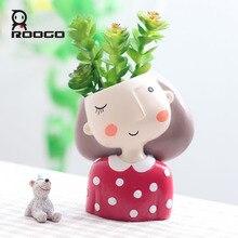 Roogo 4 öğe Etli saksı Sevimli Kız çiçek saksısı Saksı Yaratıcı Tasarım Ev Bahçe Bonsai Tencere doğum günü hediyesi Fikirleri