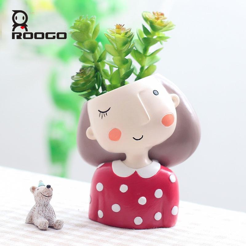 Roogo 4item Succulent Plant Pot Cute Girl Flower Planter Flowerpot Creat Design Home Garden Bonsai Pots Birthday Gift Ideas-in Flower Pots & Planters from Home & Garden