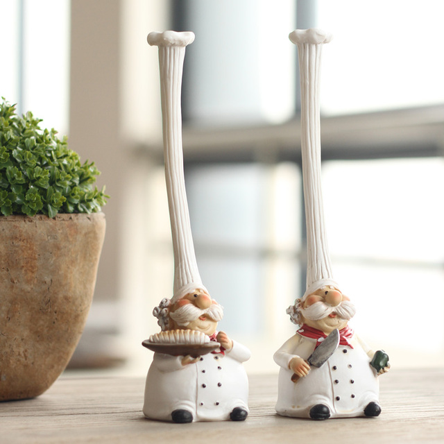 ElimElim Set Of 2, High Quality Chef Kitchen Decor Resin Model Kit  Figurines Decoration Statuette