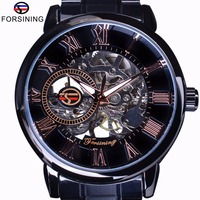 Forsining 3D Transparent Case Retro Number Classic Design Black Stainless Steel Watch Men Luxury Brand Mechanical