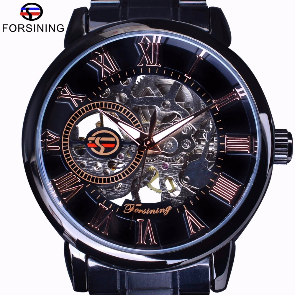 Forsining 3D Transparent Case Retro Number Classic Design Black Stainless Steel Watch Men Luxury Brand Mechanical Skeleton Watch coupon for wholesale buyer price good quality new bronze retro vintage classic arabic number mechanical pocket watch with chain