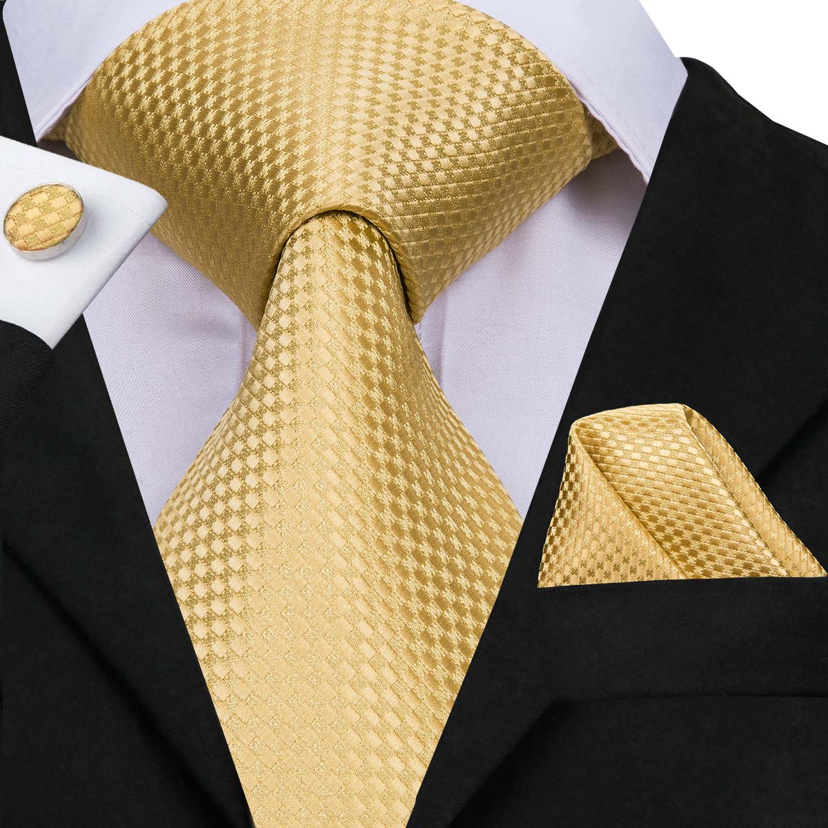 Hi-Tie Men Tie Silk Necktie High Quality Business Gold Ties And Handkerchief Cufflinks Set Suit Wedding Party Yellow Men Tie Set