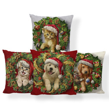 Санта-собака Пряничный человек подушки рождественские конфеты трости наволочки лоскутное диван ворс коврик пледы Подушка 45X45Cm Лен на заказ