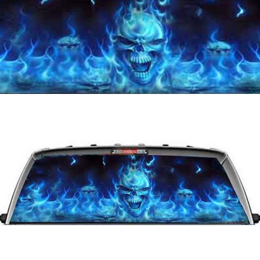 "Rear Window Flaming Skull Cool Sticker Rear Window Personality stickers for Truck suv Jeep (22""x65"" Large)"