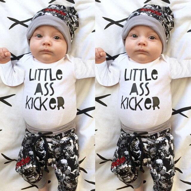 f8f165545850f 3 pièces mode bébé garçon vêtements nouveau-né infantile bébé garçon lettre  barboteuse hauts +