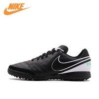 Nike Оригинал Новое поступление официальный Tiempo genioii TF Для Мужчин's Водонепроницаемый Ботинки футбола спортивный Спортивная обувь 819216 002