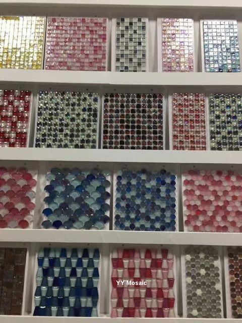 esmaltado yy 217 mezclado rosa redondo del cristal de cristal azulejos de mosaico backsplash de la - Azulejos Rosa