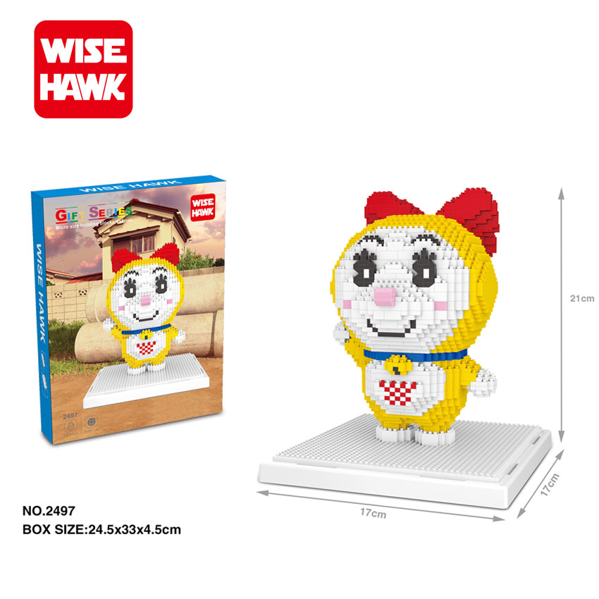 WiseHawk Nanoblock Japanese Anime Cartoon Dorami Action Figure DIY Diamond Assembly Building Bricks Christmas Gifts For Children wisehawk nanoblocks toy story super mario woody buzz bulleye action figure movie cartoon model diy diamond micro building bricks