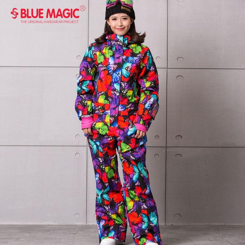 Синий волшебный водонепроницаемый Сноубординг цельный лыжный комбинезон женский сноуборд-30 градусов лыжный костюм зимняя одежда комбинезон - Цвет: BTF