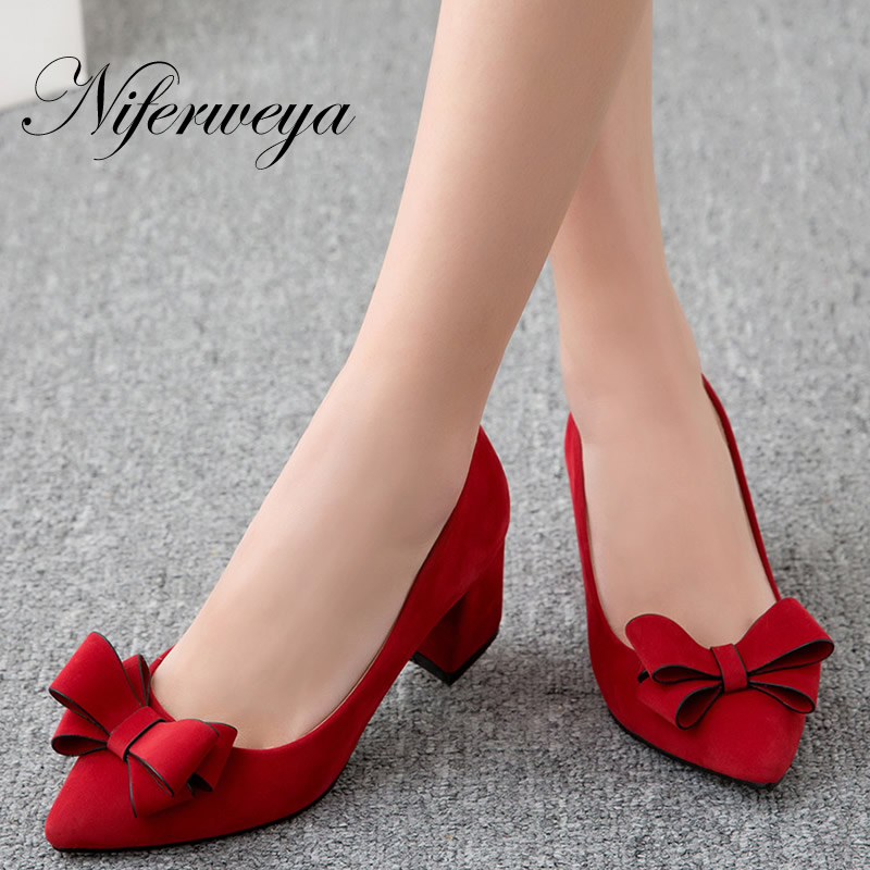 Thick Heel Ladies Shoes Women Pumps Pointed-Toe Sexy Big-Size Fashion Spring/autumn Slip-On