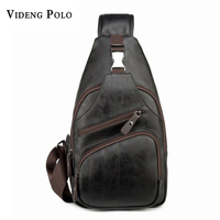 VIDENG POLO 2017 High Capacity Men Single Shoulder Bag Brand PU Leather Messenger Bag Chest Package