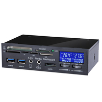 Multifuntion PC Drive Bay Front LCD Panel Media Kaartlezer 3 pin/4 pin Poort PC Fan Controller voor Desktop computer chassis