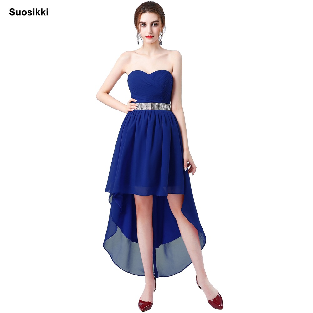 Suosikki evening   dress   Crystal Sashes Sleeveless Pleat Chiffon Short Front Long Back For Women 2018 Vestidos   Prom     Dresses