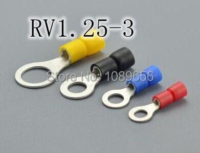 RV1.25-3 круглые предварительно изолирующие клеммы Кабельный соединитель холодного прессования 1000 шт