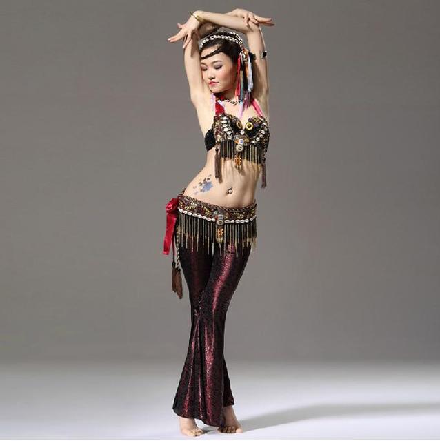 2e8be9ec4e8ca Performance Women Dance Wear 3 Set Clothes Beads Bra