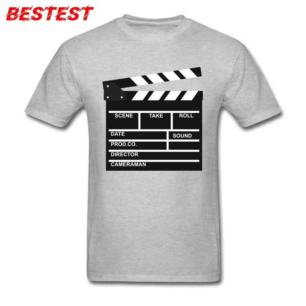 Funny Men T-shirt Clapperboard T Shirt Director Video Scene Grey Tshirts TV Movie Clapper Board Film Slate Cut Clothes Cotton