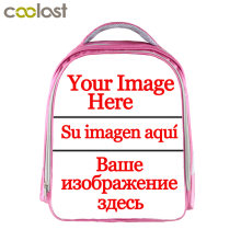 Customized Your Image logo Name Children School Bags For Girls 13 Inch Cartoon School Backpack Pink Kindergarten Bag(China)